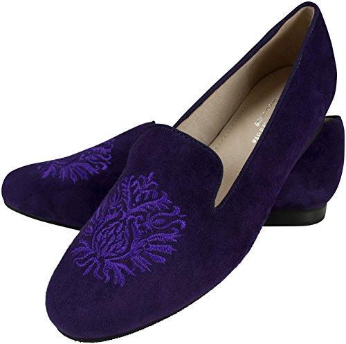 Mocassins «alessia en cuir violet avec armoiries décoré., voile trotteur, mocassins femme