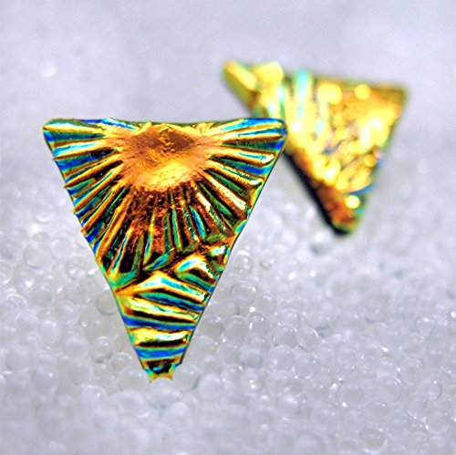 - Small Triangle Studs in Dichroic Fused Glass, Sparkling Gold Post Earrings, Studs for Jeans, Golden Triangle Studs, Handmade by HSokol