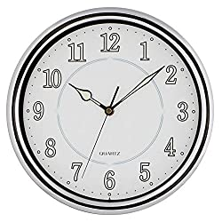 JUSTIME 11 inch Simple Easy to Read Quality Chrome Quartz Wall Clock Silent Non-ticking Fit for Small Space Home Decor (Chrome-L)