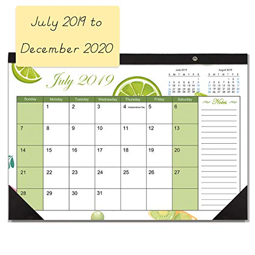 Plastic Desk Calendar - Desk Calendar 2019-2020 Monthly Large Wall Calendar Planner with Plastic Cover, 17