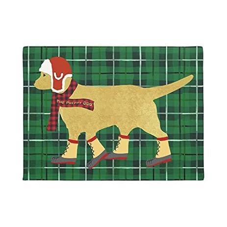 Winter Preppy Dog Golden Retriever Doormat Floor Mat Rug Entrance Way Door  Mats Rubber 16 X