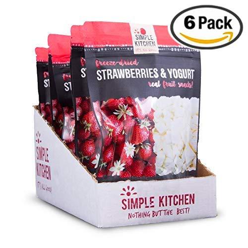 Yogurt Snacks Organic - Simple Kitchen Freeze-Dried Strawberries & Yogurt, 1.34oz (Pack of 6)