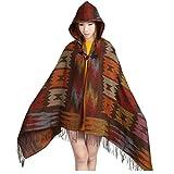 Changeshopping Women Vintage Hooded Cloak Cape Bohemian Fringed Shawl Scarf (Orange)