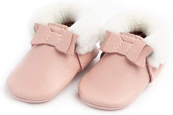 Soft Sole Leather Shearling Bow