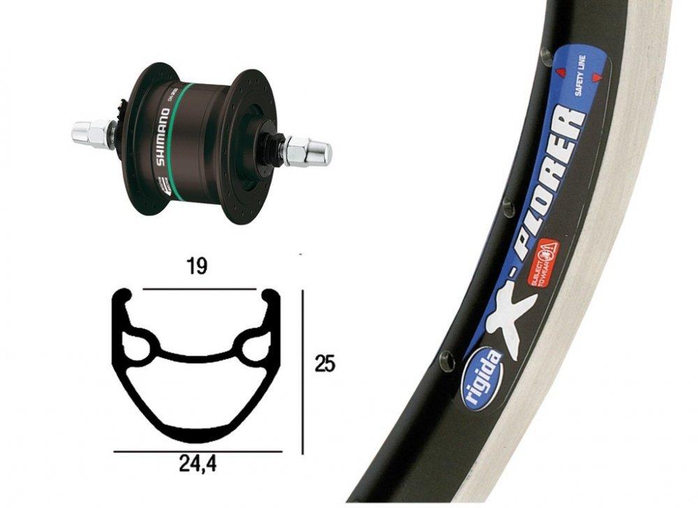 Bike-Parts 26´´ Vorderrad Rigida X-Plorer + Nabendynamo Shimano DH-C3003