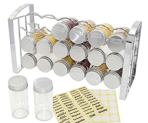 ESYLIFE Counter Spice Rack Stand Holder with 18 Empty Glass Bottle, Chrome by Esy-Life