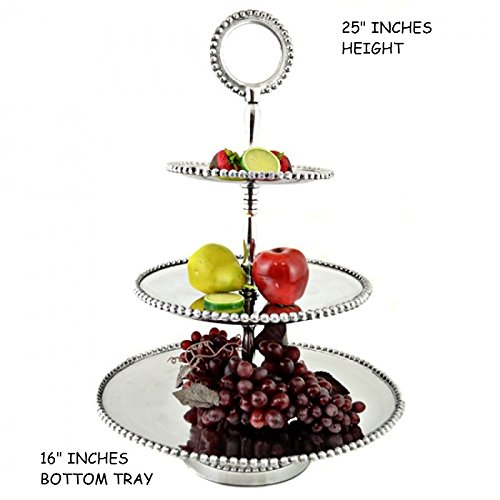 CUPCAKE STAND PARTY DESSERT DISPLAY STAND FOR WEDDING AND PARTY BUFFET (ROUND BEADED 3 TIER ROUNDED BEADED TOP 16
