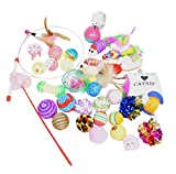 Downtown Pet Supply Best Value Cat Toys Variety Bundle Set with Wand, Balls, Mouses, Catnip, 16 or 35 Fun Interactive Cat Toys (35 PK)