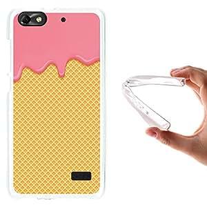WoowCase Funda Huawei G Play Mini - Huawei Honor 4C, [Huawei G Play Mini - Huawei Honor 4C ] Funda Silicona Gel Flexible Crema de Fresa y Oblea, Carcasa Case TPU Silicona - Transparente