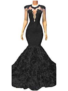 10fefec005c Sexy Mermaid Prom Dresses 2019 Long Appliques Lace Evening Dresses Party  Gowns for Women with Rose