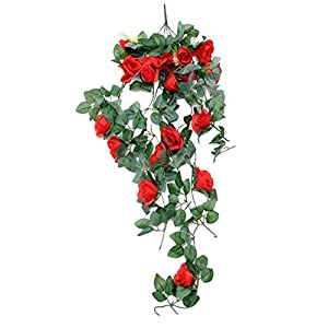 2 PCS Artificial Flowers Rose Garland Artificial Vine with Green Leaves Silk Wisteria Garden Wisteria Vine Silk Hanging Flower For Home Wedding Decoration 65