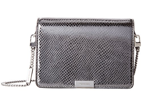 Michael Kors Jade Medium Gusset Snake Skin Embossed Leather Clutch Crossbody Handbag in Light Pewter ()