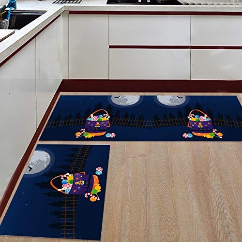 Prime Leader 2 Piece Non-Slip Kitchen Mat Runner Rug Set Doormat Halloween Candy Bag Door Mats Rubber Backing Carpet Indoor Floor Mat (23.6