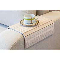 White Sofa Side Tray Table - Wood Armrest Tray – Sofa Tray Table - Surface For Coffee/Meals/Laptop - 22.5 x 14