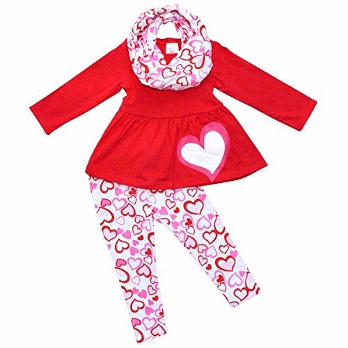 Unique Baby Girls Valentine's Day Red & Pink hearts Legging Set (4T/M, Red)