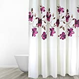 Eforgift 72 Inch By 78 Inch Floral Shower Curtain Fabric Polyester  Waterproof/ No More Mildews Bathroom Curtains With Free Rings, Purple/White  ,Extra Long  Purple And Grey Shower Curtain
