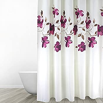 Amazon Com Eforgift Floral Printed Fabric Shower Curtain