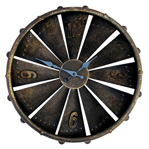 (TG,LLC Jet Airpane Engine Turbine Fan Wall Clock Rustic 3D Mantle)
