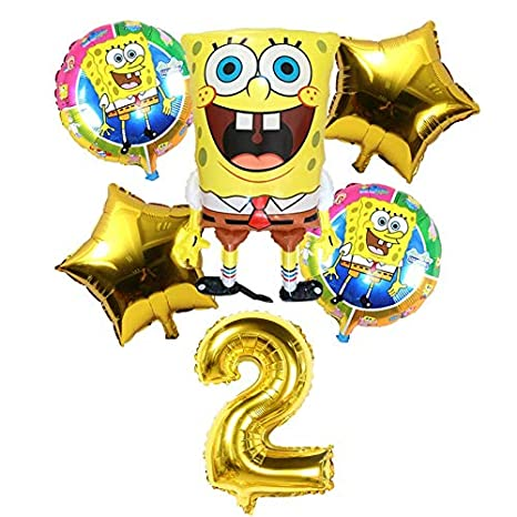 Decoraciones 6 Unids Globos de Bob Esponja de Cumpleaños 3D ...