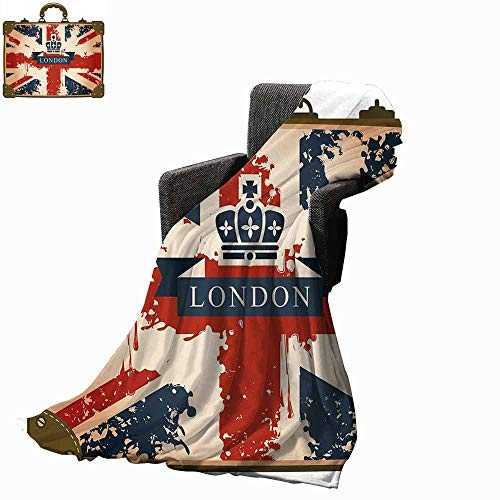vanfan-home Union Jack Weighted Blanket Adult,Vintage Travel Suitcase with British Flag London Ribbon and Crown Image Soft Fuzzy Cozy Lightweight Blankets (90