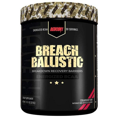 Redcon1 Breach Ballistic Fully Dosed Energized BCAA Complex – 30 Servings (Strawberry Kiwi)