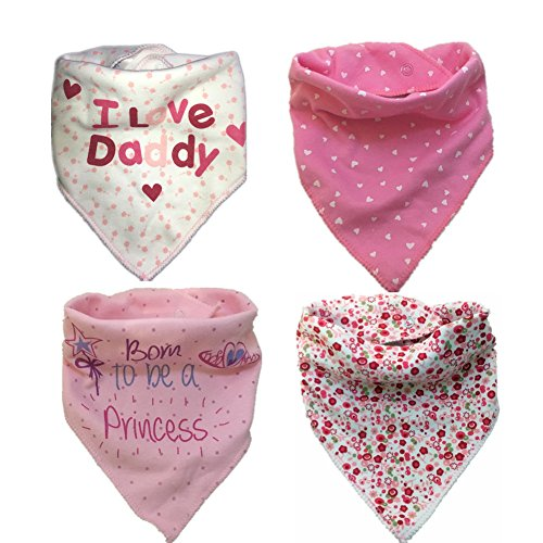 Baby Bandana Drool Bibs, 4-Pack Pink Absorbent Cotton Bibs with Snaps , Soft Cotton & Waterproof Fleece Backing Layer, Cute Baby Gift for Girls (ColorB) (Waterproof Bandana)