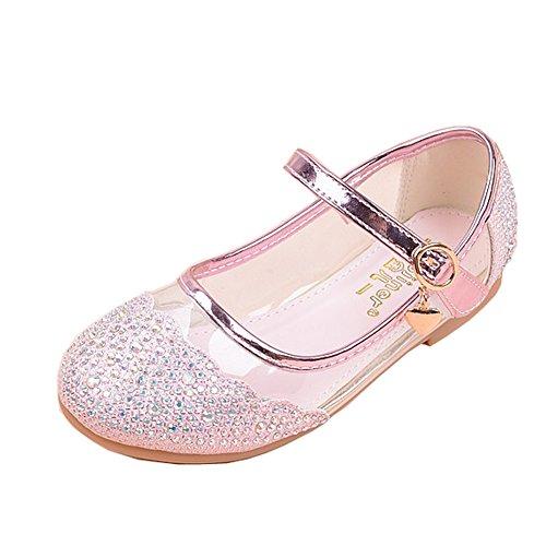 BSVLIA Kinder Mädchen Ballerinas Schuhe Freizeit Prinzessin Schuhe Lässige Flache Schuhe für Party Schule Rosa