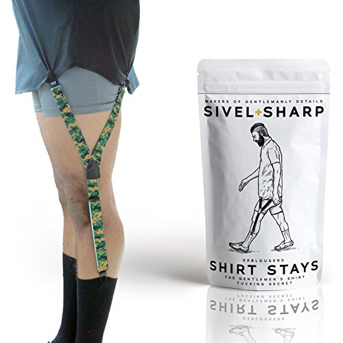 SIVEL + SHARP Shirt Stays | Fancy Leather Patches, Adjustable & Elastic Shirttail Suspenders With Strong Metal Clips (Camoflauge) by SIVEL + SHARP