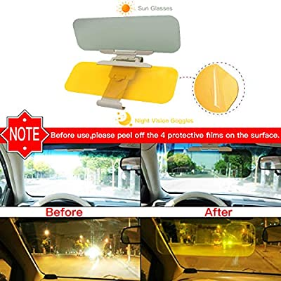 Car Sun Visor, Extender Sun Blocker, Anti Glare Sunshade and Oncoming Windshield, HD 2 in 1 Day and Night Vision, Anti-Glare Driving, Anti-Dazzle Car Visor, Universal Size Fits Car Truck SUV (Medium): Automotive