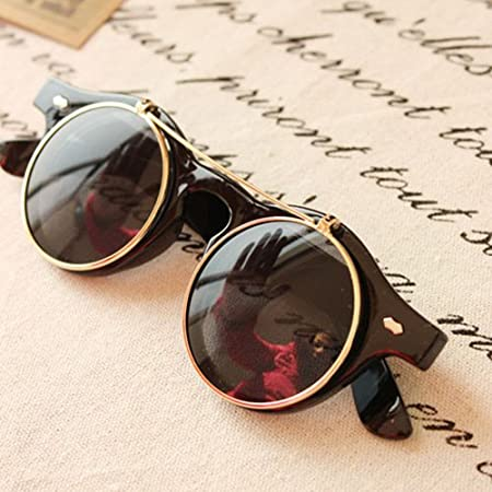 Amazon.com: clásico Flip Up Steampunk Redondo Unisex – Gafas ...