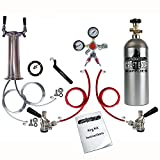 HomeBrewStuff Double Draft Beer Tower Kegerator Keg Conversion Kit w/ Regulator & Co2 Tank
