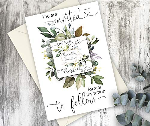Save the date magnet card - Rustic wedding save the date postcard - Greenery fridge magnets with cards