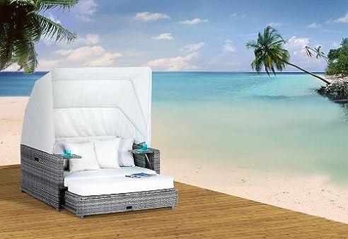 Polyrattan Liegeinsel Beach Lounge Ashe wetterfest hochbequem ...