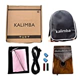 XuBa Portable 17 Keys EQ Kalimba Thumb Piano Solid Finger Piano with Mineral Steel Tuner Hammer Acacia Body Acacia with Bag