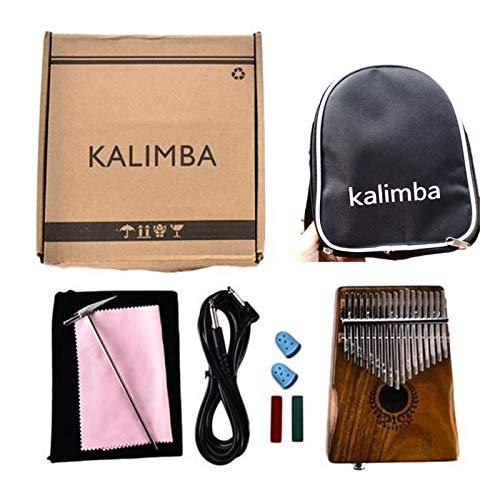 PinShang 17 Keys Kalimba Thumb Piano Portable Solid Finger Piano with Mineral Steel Tuner Hammer Acacia Body Acacia with Bag