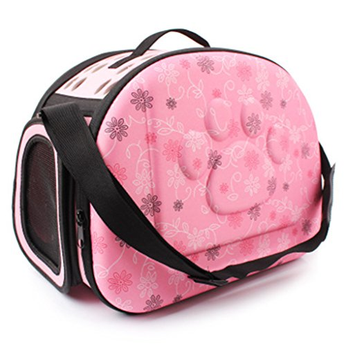Petetpet Pet Carrier Travel Collapsible Puppy Tote Lightweight Cat Shoulder Bag Outdoor Airline Approved Small Dogs Handbag 16.5x11.8x11 inch (Pink)