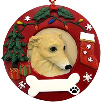 Greyhound Christmas Ornament Fawn and White Wreath Shaped Easily  Personalized Holiday Decoration Unique Greyhound Lover Gifts - Amazon.com: Greyhound Christmas Ornament Fawn And White Wreath