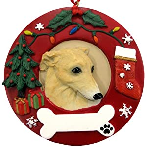 Greyhound Christmas Ornament Fawn and White Wreath Shaped Easily Personalized Holiday Decoration Unique Greyhound Lover Gifts 29
