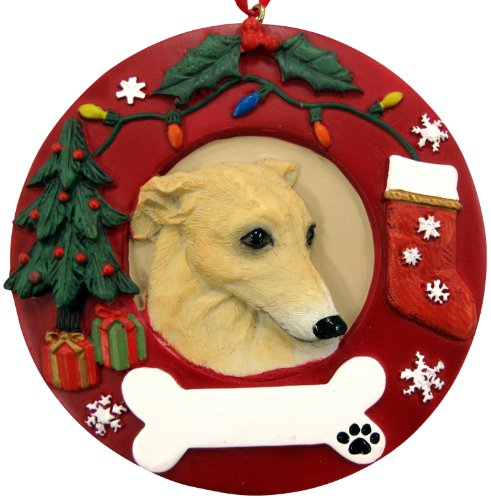 Greyhound Christmas Ornament Fawn and White Wreath Shaped Easily Personalized Holiday Decoration Unique Greyhound Lover Gifts ()