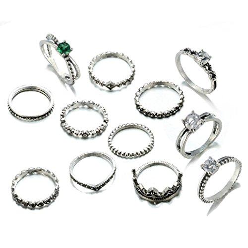 Price comparison product image Women Girls Stackable Band Rings Set Cuekondy Natural Gemstone Fire Opal Diamond Engagement Wedding Anniversary Statement Ring (12 Pcs)