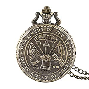 Men's Pocket Watch, Vintage Bronze The US Department of The Army Tabard Design Pocket Watch, Christmas Gifts for Men