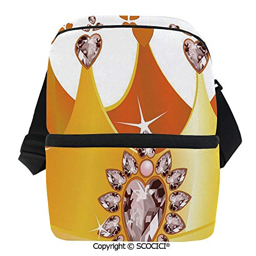 SCOCICI Thermal Insulation Bag Gold Colored Tiara Cartoon Princess Hearts Floral Details Fairytale Character Lunch Bag Organizer for Women Men Girls Work School Office Outdoor