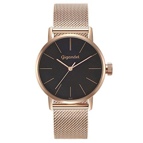 Gigandet Women's Quartz Watch Minimalism Analog Stainless Steel Bracelet Rose Gold Black G43-024