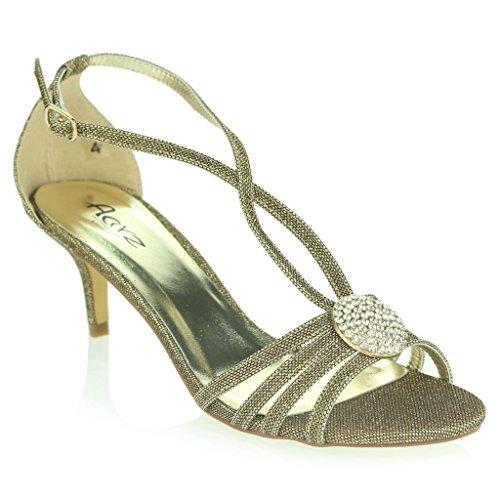 Mujer Señoras Broche de Cristal Correa Diamante Delgado Tacón Medio Noche Fiesta Boda Paseo Sandalias Zapatos Talla Bronce