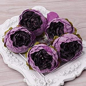 FidgetGear 5Pcs Artificial Peony Flower Heads DIY Craft for Home Room Wedding Party Decor Deep Purple 94