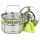 Two Tier Steamer Insert Stackable Food Design | Instant Pot Steamer Set Includes 6, 8 Quart Pots, Sling, Mix 'n Match Lids | Stainless Steel Steamer Insert for Veggies, Rice, Pasta, Tamales and More
