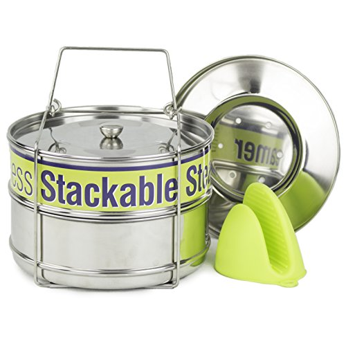 Two Tier Steamer Insert Stackable Food Design | Instant Pot Steamer Set Includes 6, 8 Quart Pots, Sling, Mix 'n Match Lids | Stainless Steel Steamer Insert for Veggies, Rice, Pasta, Tamales and More (Pot Stackable)