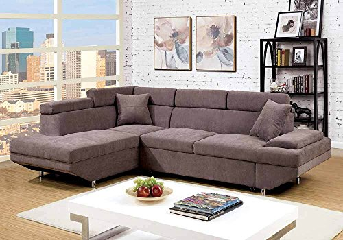 1PerfectChoice Foreman Sectional Sofa Pull Out Sofa Bed Sleeper Flannelette Fabric Chaise Brown