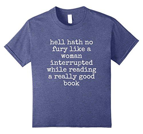 Kids Hell Hath No Fury Funny Book Addict T-Shirt 10 Heather Blue