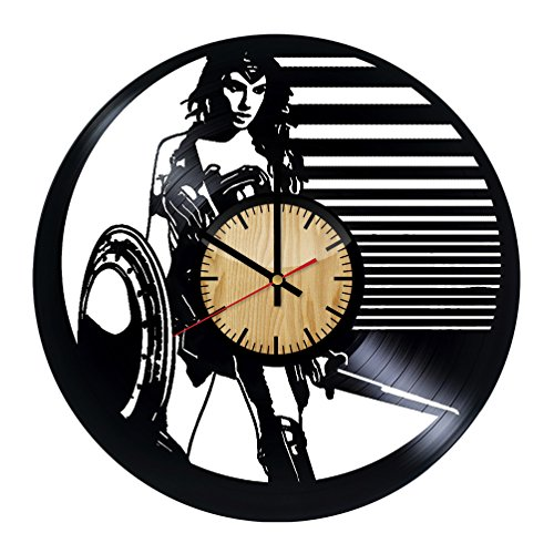 (ForLovedGifts Wonder Woman Superhero Design Vinyl Wall Clock – Handmade Gift for Any Occasion – Unique Birthday, Wedding, Anniversary, Wall décor Ideas for Any)
